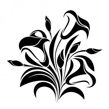 Abstract flowers. Vector black silhouette.