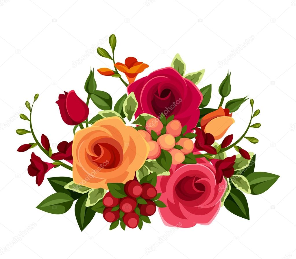 Bouquet of roses and freesia flowers. Vector illustration.