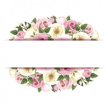 Vector background (banner) with pink and white roses and lisianthus flowers and green leaves. stock vector
