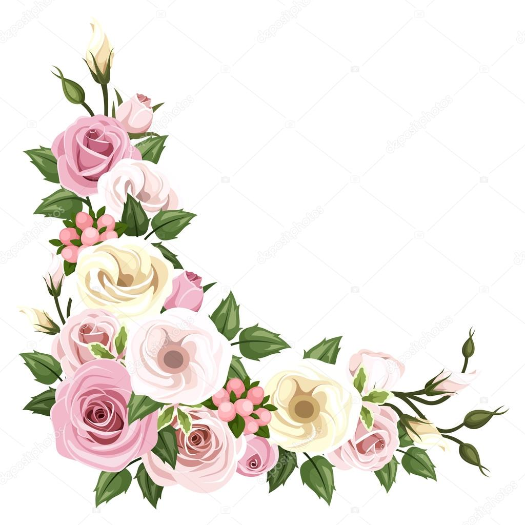 Roses and lisianthus flowers. Vector corner background.