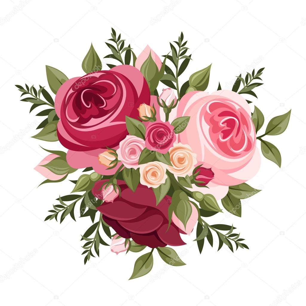 Red And Pink Roses Vector Illustration Stock Vector Naddya
