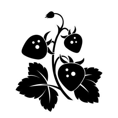 Branch of wild strawberry. Vector black silhouette.