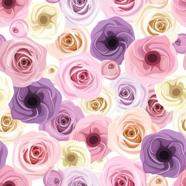 Vector seamless background with pink, purple, orange and white roses and lisianthus flowers. stock vector