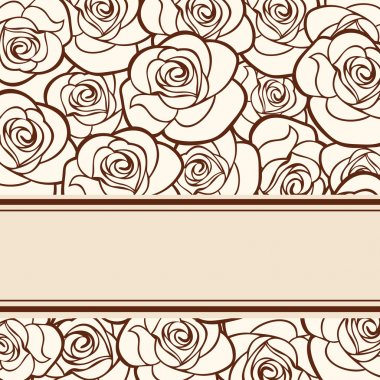 Vector beige card with roses.