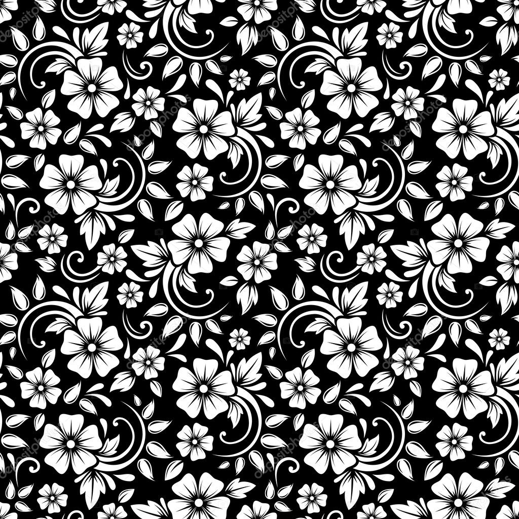 Black Flower Pattern Stock Images: Vintage Seamless White Floral Pattern On A Black