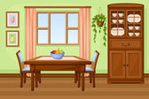 Photo Dining room interior with table and cupboard. Vector illustration.