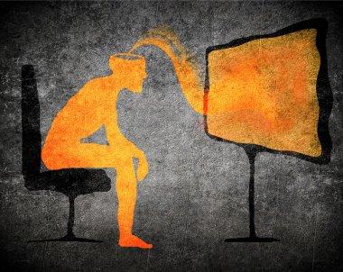 Man watching tv subliminal message concept