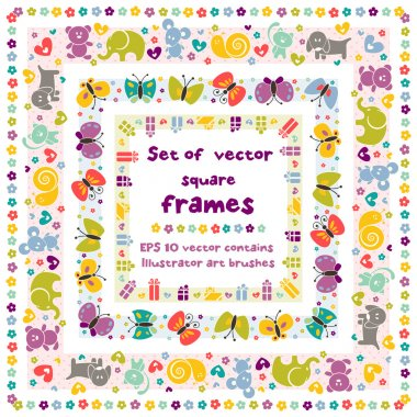 Cute frames with baby icons.