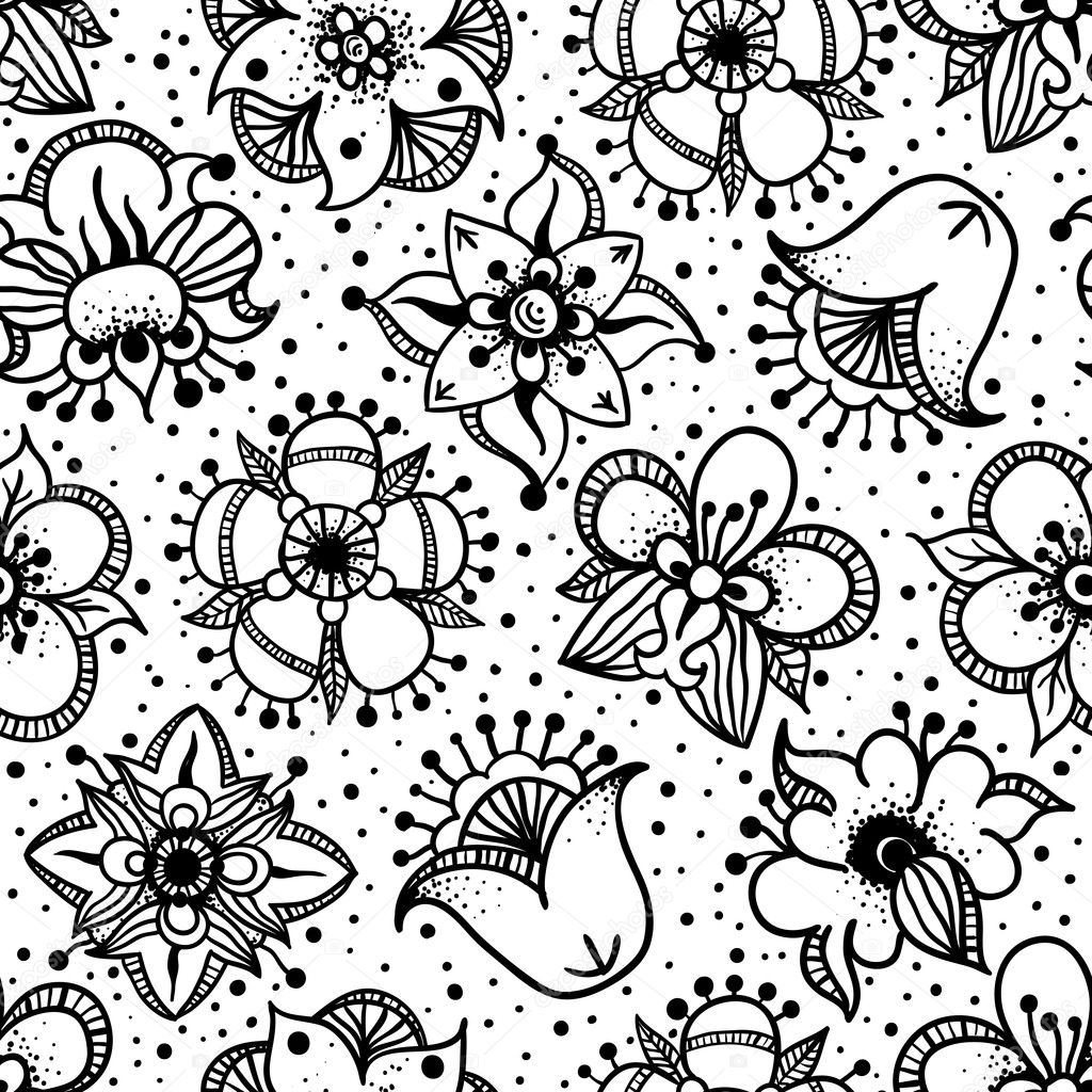 Floral seamless pattern with hand drawn flowers
