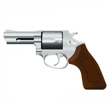 Chrome revolver with a wooden handle on a white background stock vector