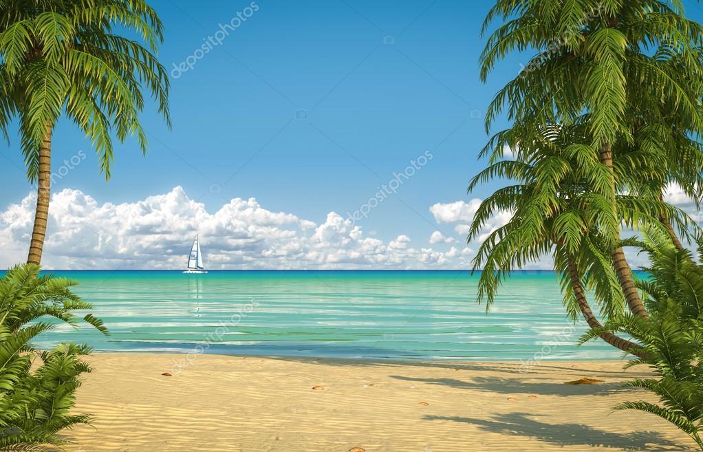 idyllic caribean beach view