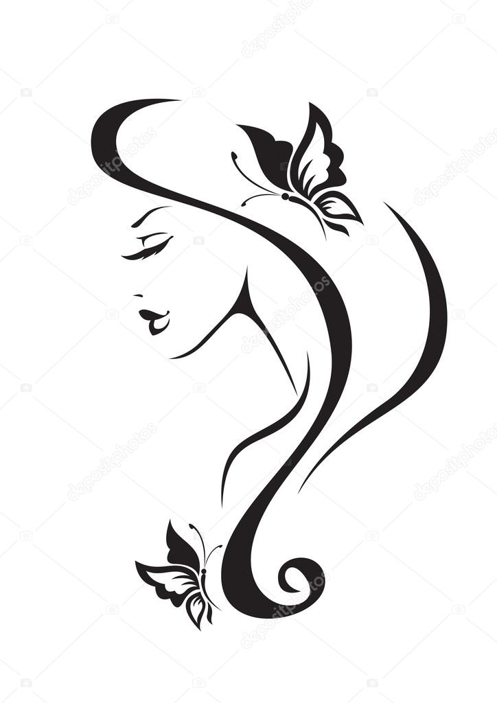 Black and white silhouette of the girl