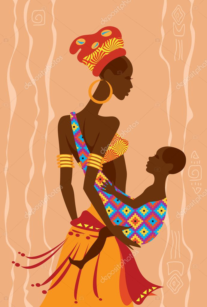 Beautiful african mother and  her baby in a sling
