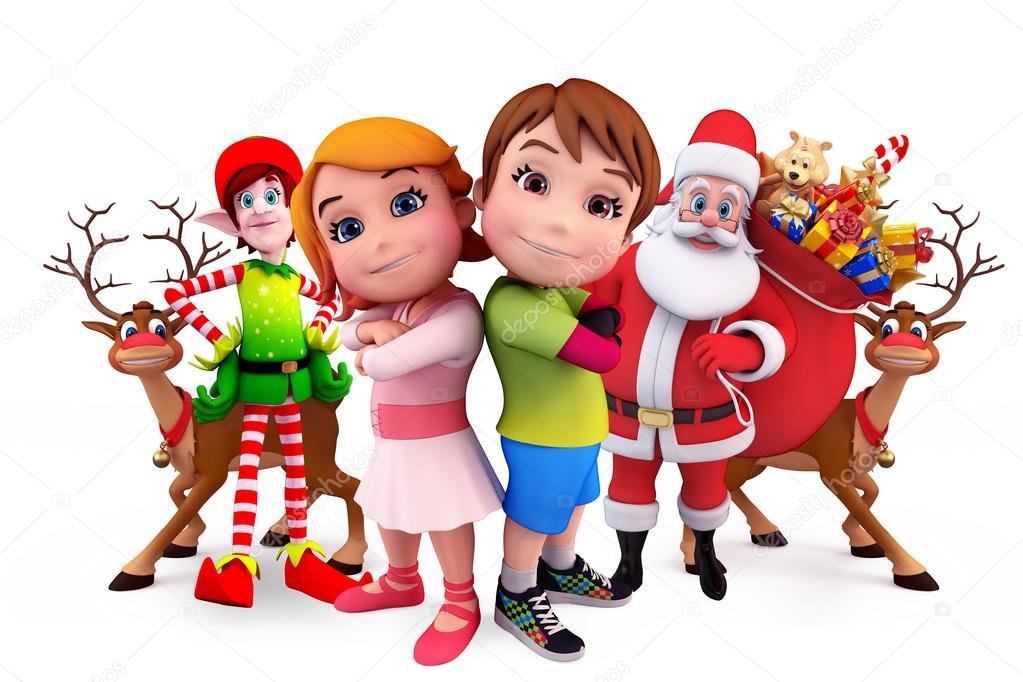 Niños Con Letrero Blanco Y Santa Claus