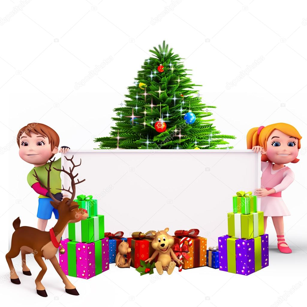 3d art illustration of kids with a big sign and lots of christmas gifts photo by pixdesign123 - Big Christmas Gifts