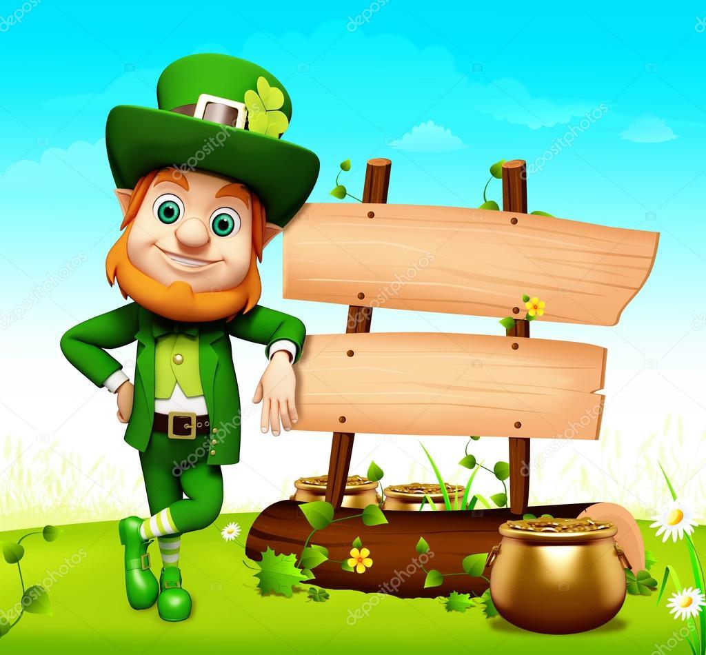 leprechaun on the green background for st patrick u0027s day u2014 stock