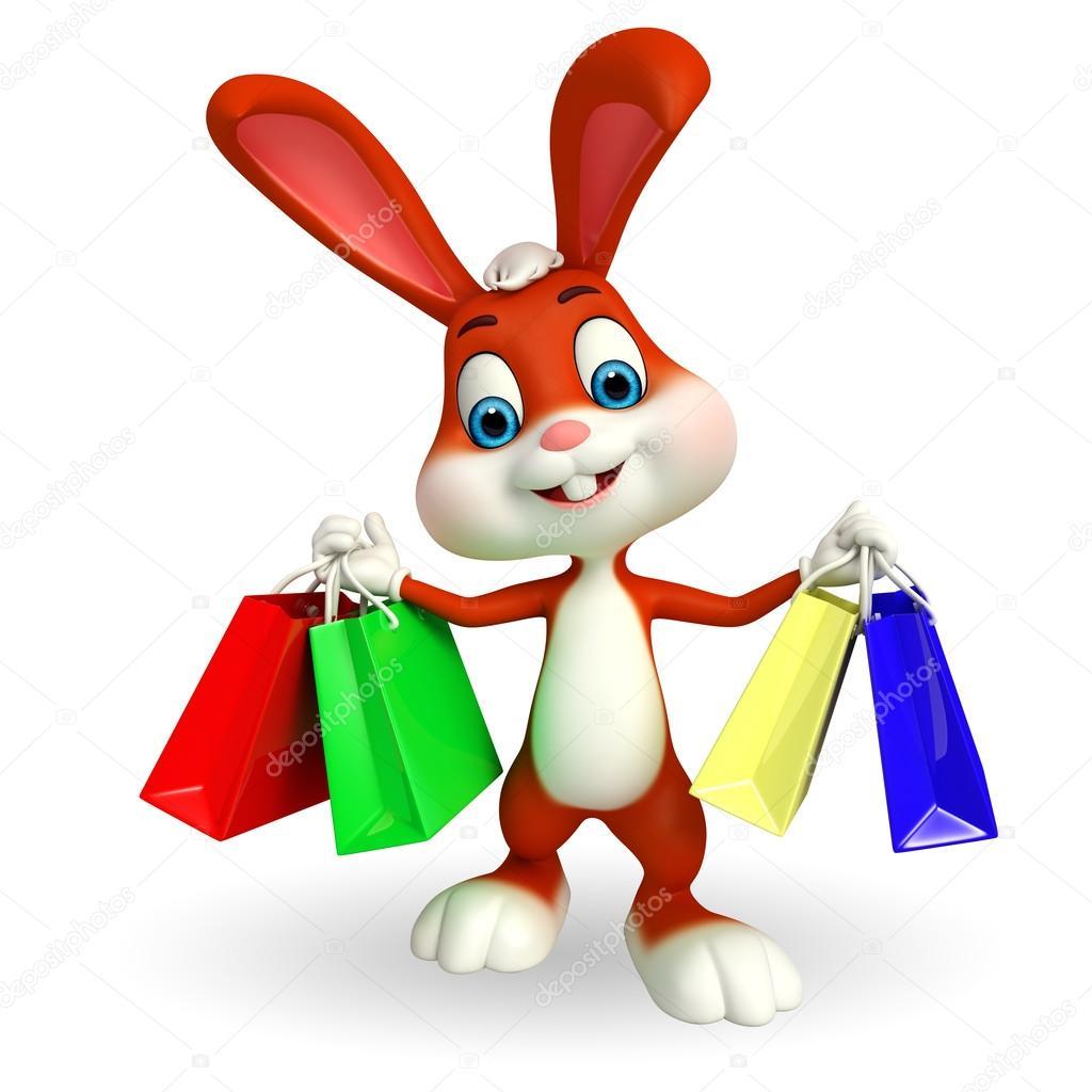 ae2e79e0de7 Εικονογράφηση του χαριτωμένο λαγουδάκι του Πάσχα με τσάντες αγορών — Εικόνα  από ...