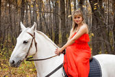 Fotografie schöne junge Frau auf dem Pferderücken auf weißen Pferd