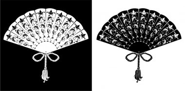 Fan - vintage illustration - silhouettes on black and white back