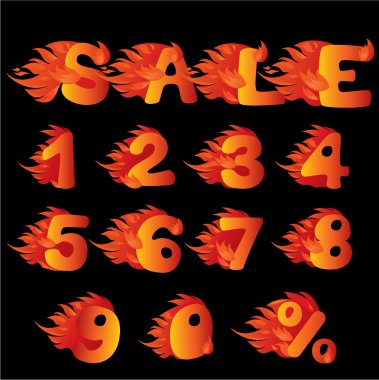 Flaming Numbers, percent symbol and word SALE