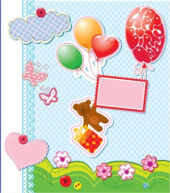 Baby birthday card with teddy bear and gift box flying with ball