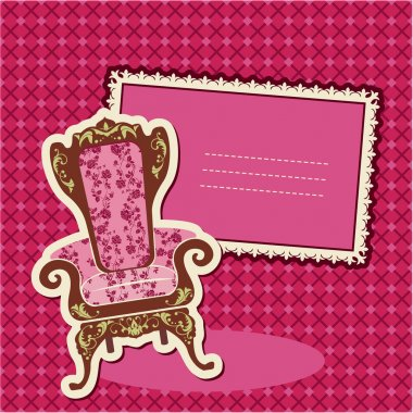 Pink Armchair and picture on checked background - card with empt
