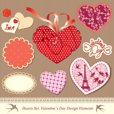Valentine's day design elements - different hearts