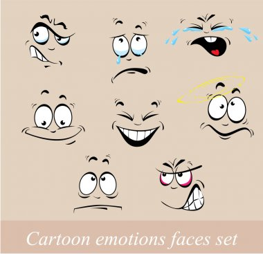 Cartoon emotions faces set