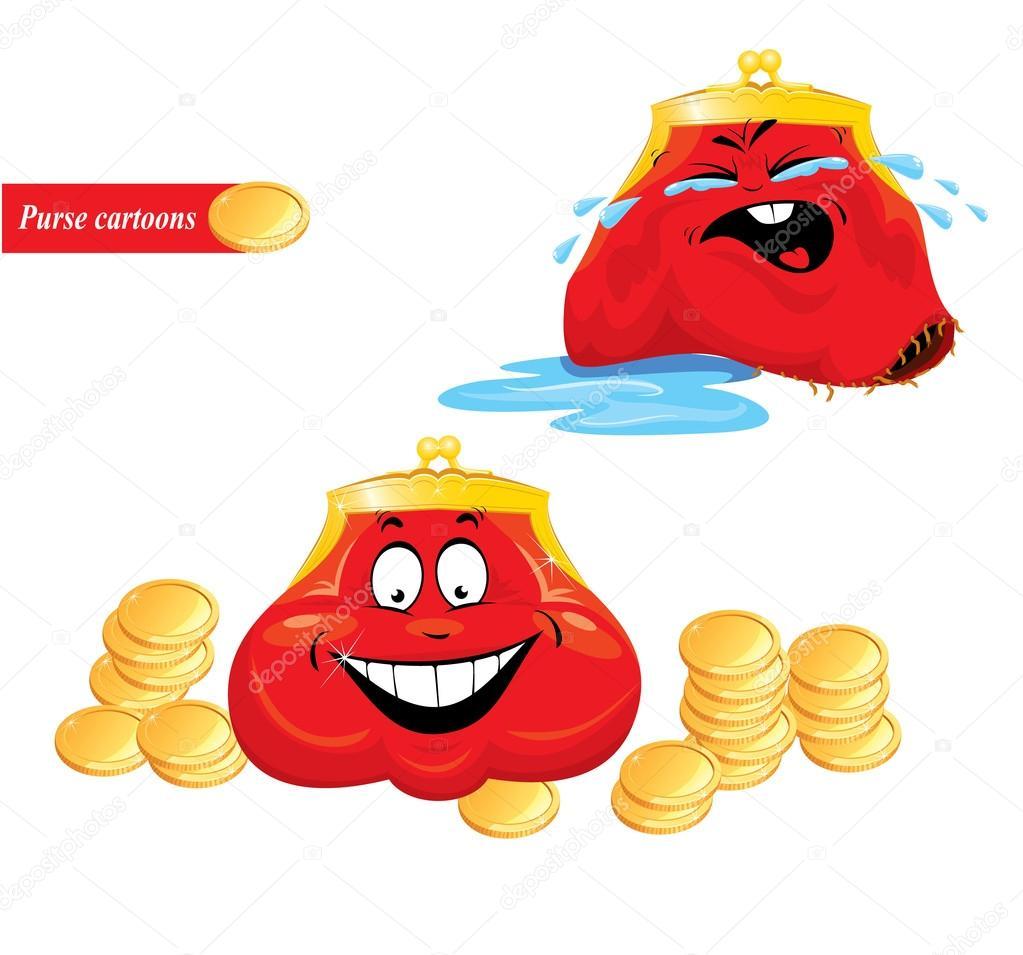 Dessin Porte Monnaie dessin animé émotions ensemble - drôle porte-monnaie rouge sur fond