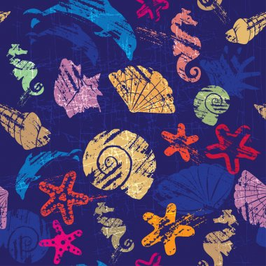 Seamless background with Marine life - pattern with shells, seah