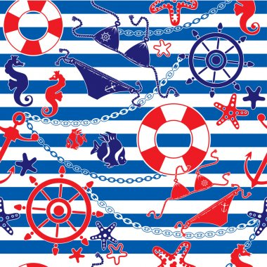 Seamless nautical pattern on striped background
