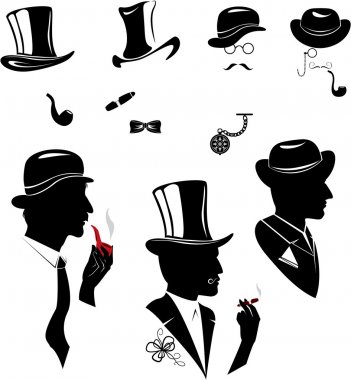 Men silhouettes smoking cigar and pipe in vintage style isolate