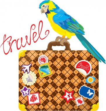 Travel concept - Suitcase with journey stickers and parrot isola
