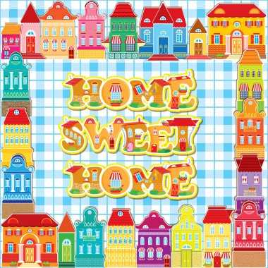 Frame with decorative colorful houses. City background. Home, sw