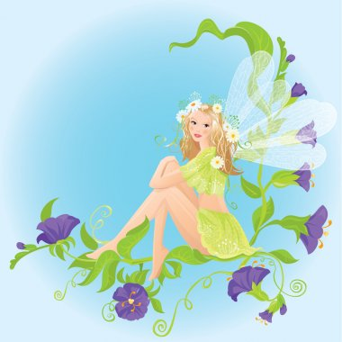 Little cute forest fairy sitting on beautiful wild flowers