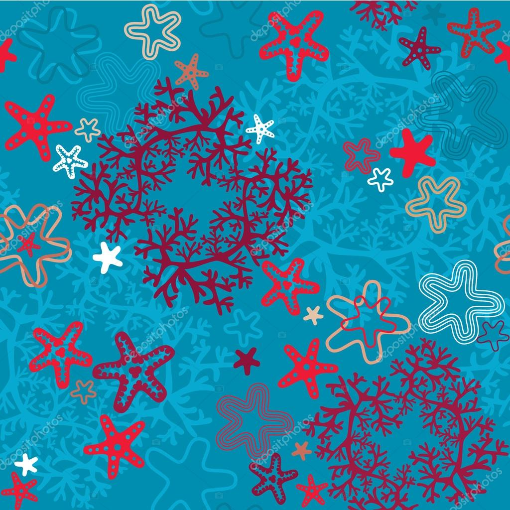 Seamless background with Coral Reef and Sea stars