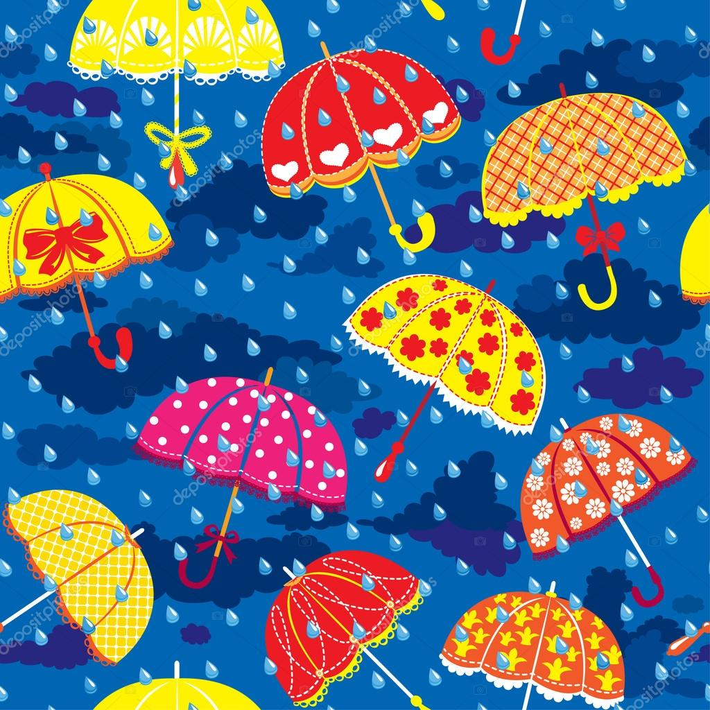 Seamless pattern with colorful umbrellas, clouds and rain drops