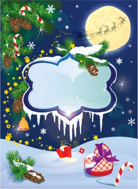 Christmas and New Year card with flying rein deers on sky backgr