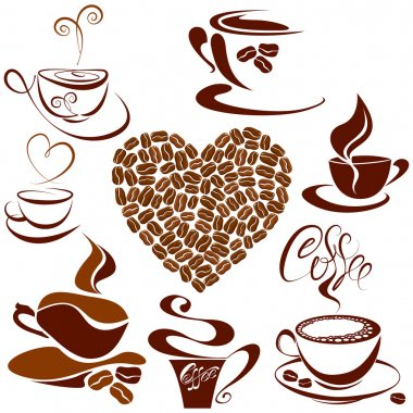 Set of coffee cups icons, Heart shape is made of coffee beans st