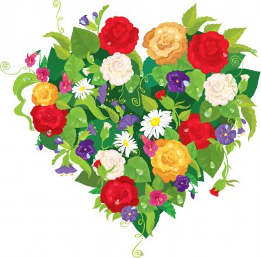 Heart shape is made of beautiful flowers - roses, pansies, bell