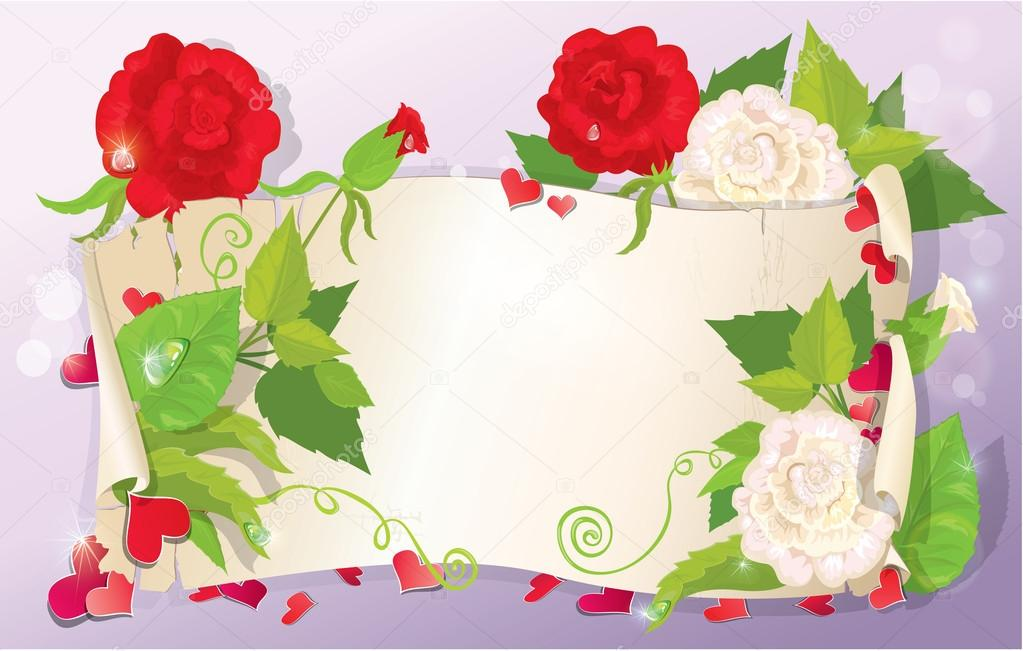 Illustration of love letter with hearts and flowers - rose, dais