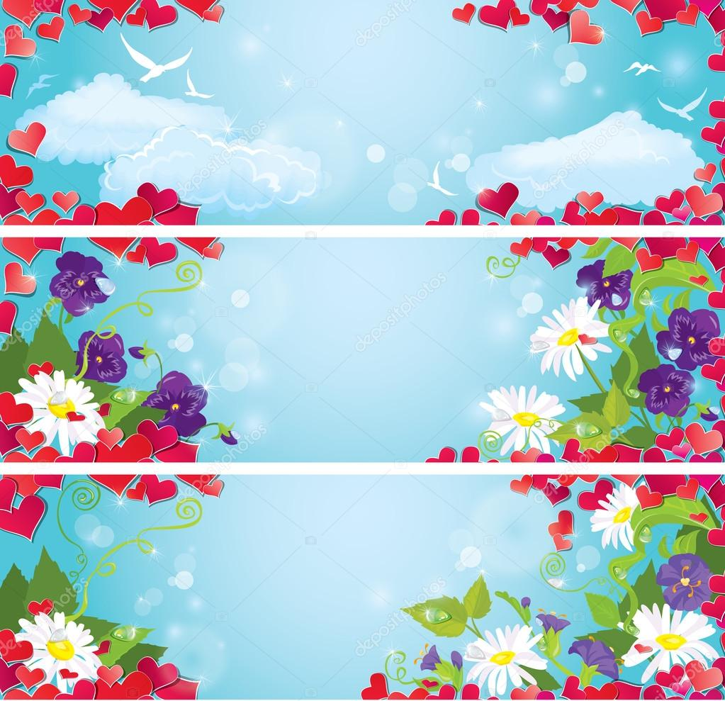 Set of Valentines Day horizontal banners with Red hearts confet