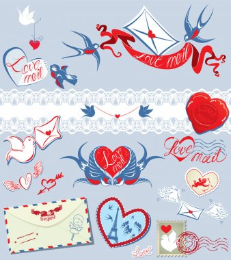 Collection of love mail design elements - birds, envelops, heart