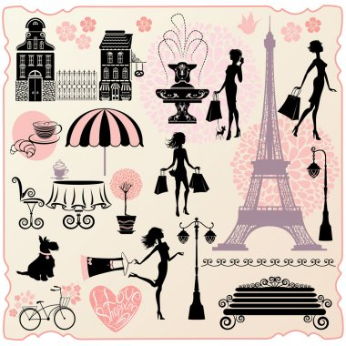Set for fashion or retail design - Effel Tower, houses, heart wi