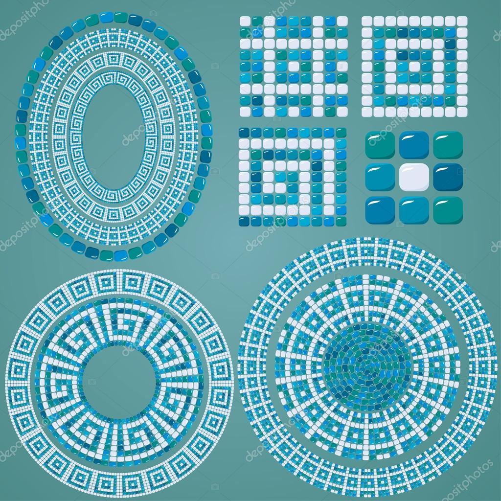 conjunto de mosaico patrones - azules cerámicos ovales y redondos ...