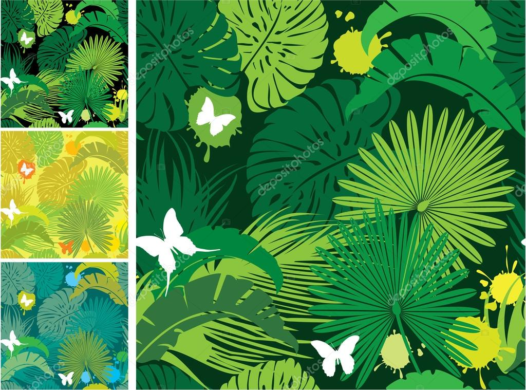 Set of seamless patterns with palm trees leaves and butterflies.