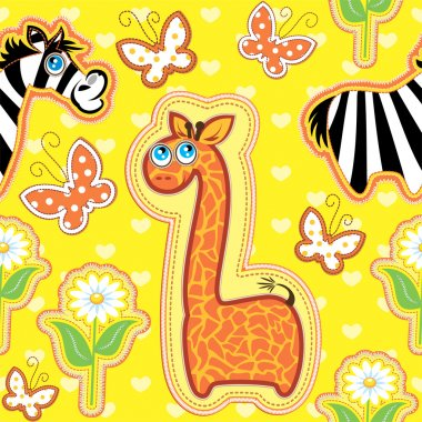 Seamless pattern with cartoon animals - giraffe and zebra - hand