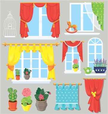 Set of windows, curtains and flowers in pots. Elements for inter