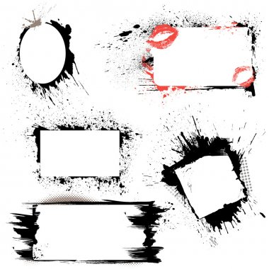 Set of frames - black blots and ink splashes. Abstract elements
