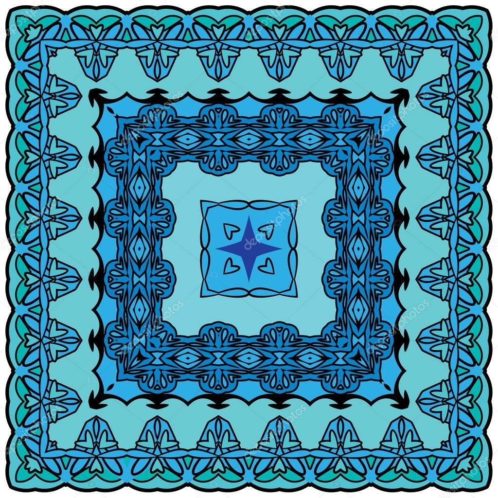 Squared background - ornamental floral pattern. Design for banda